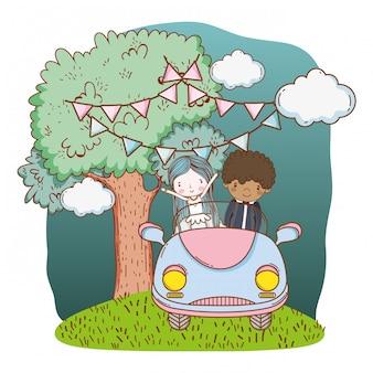 ウェディングカップルの車のかわいい漫画