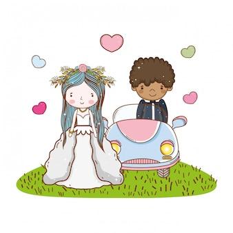 車のカップルの結婚かわいい漫画