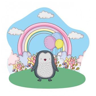 Милый маленький пингвин с воздушными шарами гелия в поле