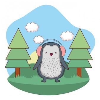Милый маленький пингвин с наушниками в парке