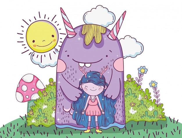 太陽と茂みのあるモンスターと女の子の生き物
