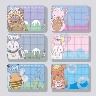 可愛い動物スタイルのカレンダー情報