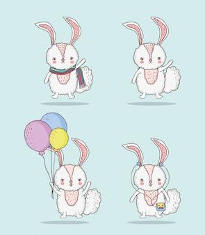 風船とスカーフでウサギのかわいい動物を設定する
