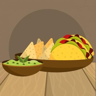 Вкусная мексиканская еда мультфильм на столиков в ресторане