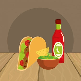レストランのテーブル上のおいしいメキシコ料理の漫画