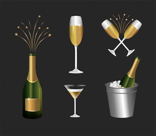 Установите бутылку шампанского со стаканом, чтобы отпраздновать праздник