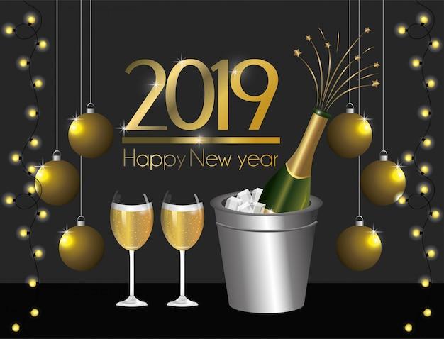 Новый год с елочными шарами и украшением огней