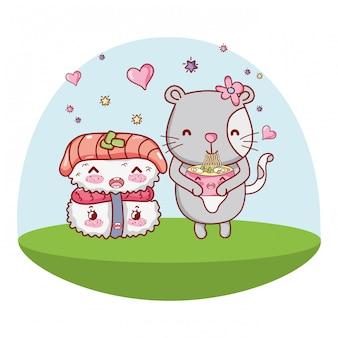 Кошка и еда каваи мультфильмы
