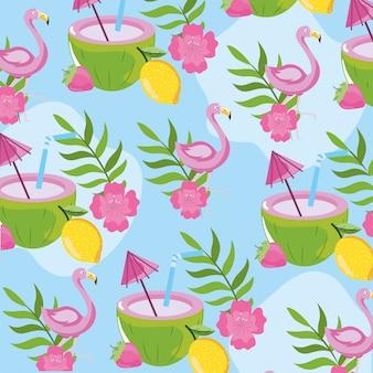 Тропические фрукты с вьющимися и листья фон