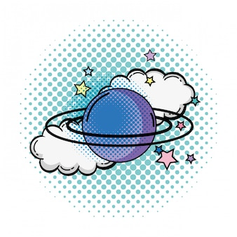 土星の惑星のポップアートアイコン