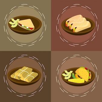 伝統的なスパイシーなメキシコ料理をセット