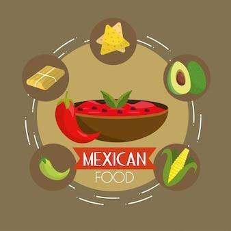 スパイシーなソースの背景を持つメキシコ料理