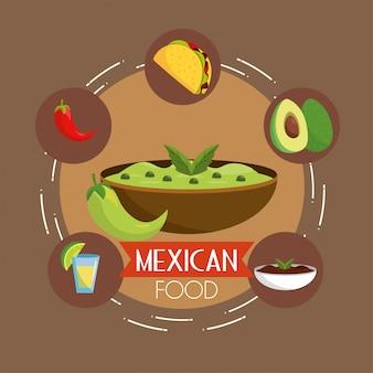 チリとスパイシーなソースとタコスの食べ物