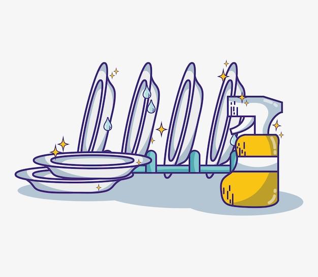 清潔な家のベクトルイラストへの国内衛生サービス