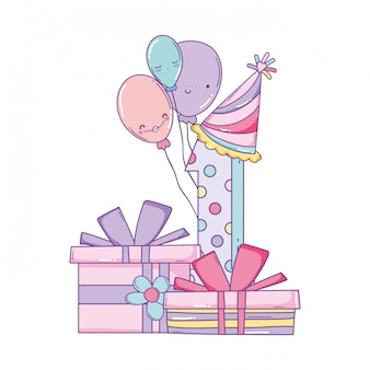 誕生日のギフトボックスと番号
