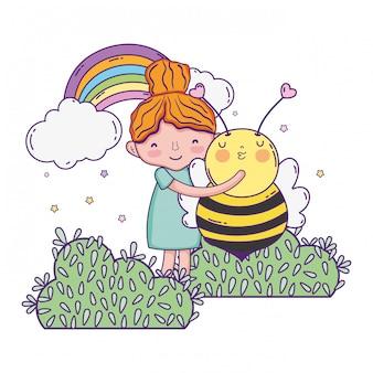蜂のかわいいキャラクターの少女