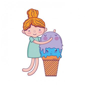 アイスクリームかわいいキャラクターの少女
