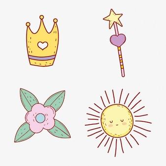 星の魔法の杖と花で王冠を設定する