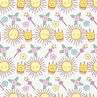 スターマジックワンドと花の背景でかわいい太陽