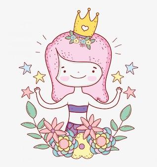 星と花と王冠を身に着けているマーメイドの女性