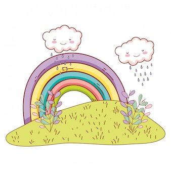 Симпатичные пейзажи с рисунками радуги