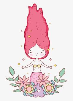 Русалка женщина с цветами растений и листьев