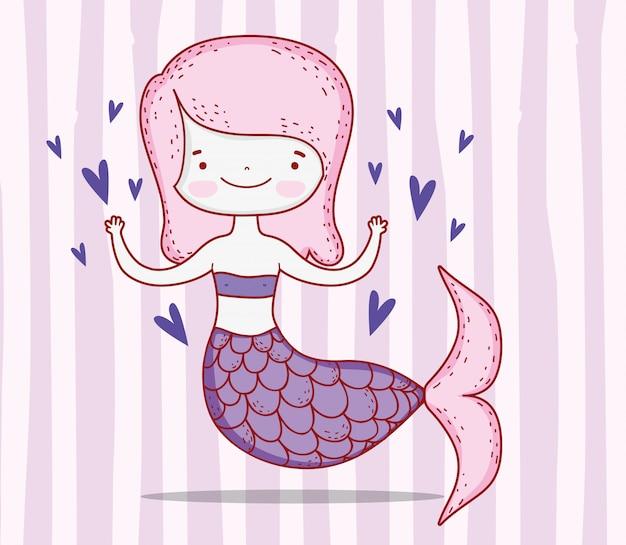 髪型と心の尾を持つかわいい人魚の女性
