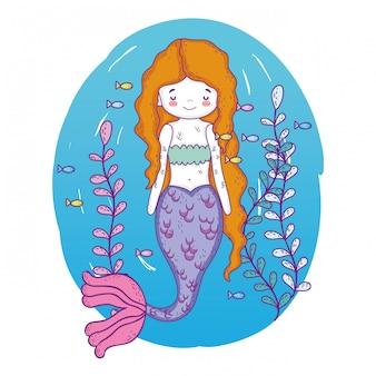 Русалка под водой с рыбами и растениями