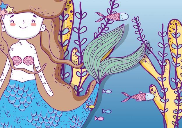Милая русалка под водой с рыбами и растениями