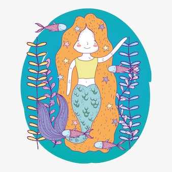 Милая русалка под водой с растениями и рыбами