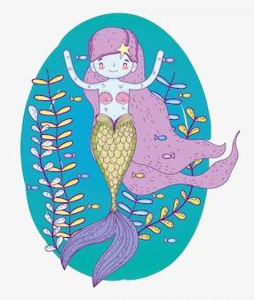 Милая русалка женщина с растениями под водой