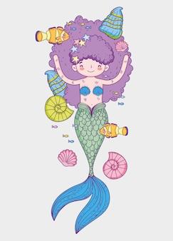 魚と髪型のカタツムリを着ている人魚の女性