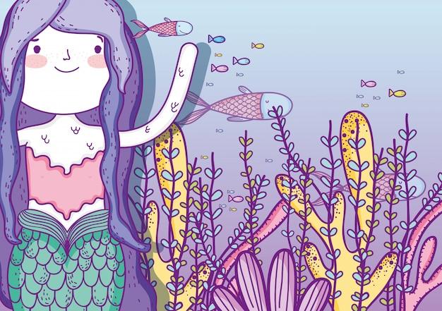 Русалка женщина под водой с листьями растений и рыб