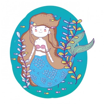 Милая русалка под водой с растениями