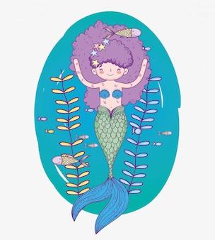 Русалка под водой с рыбками и листьями растений