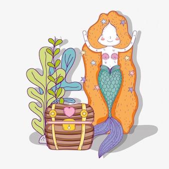 Русалка женщина с сундуком и листьями растений