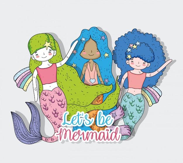 髪型と尾を持つ人魚の女性の友達