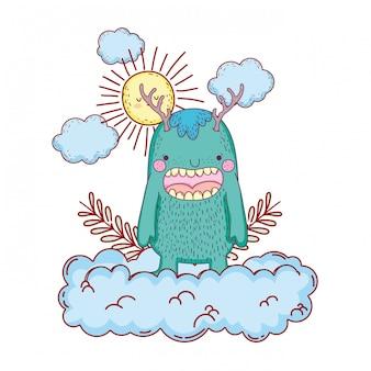 Сказочный монстр с облаками и солнцем