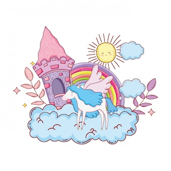雲の中に城と虹のかわいいユニコーン