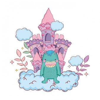城のキャラクターを持つおとぎ話のモンスター