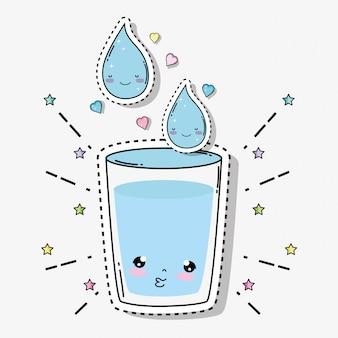 心と星のあるかわいい柔らかい水ガラス