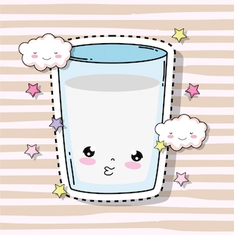 Каваи милый стакан молока с облаками и звездами
