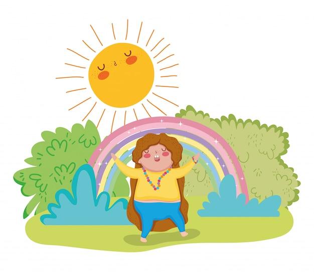 虹と太陽で遊んでいるかわいい女の子