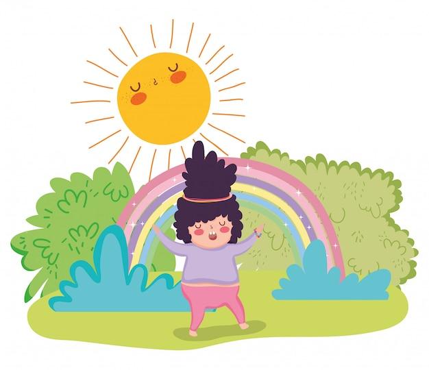 女の子、茂み、虹、太陽
