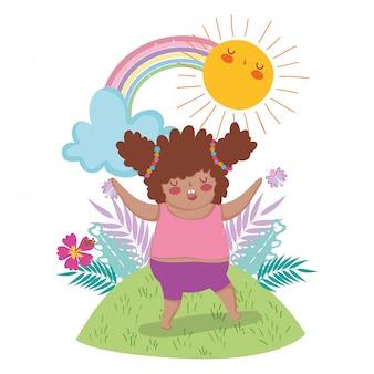 虹と太陽と植物で楽しむ少女