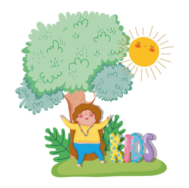 太陽と木や植物で遊んでいる少女
