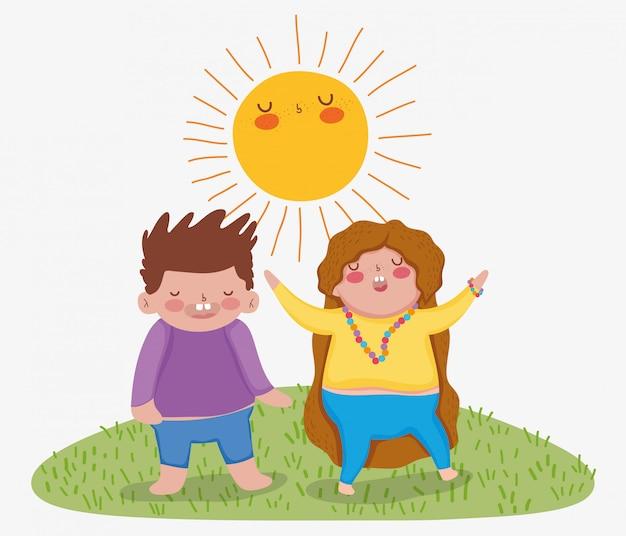 太陽と女の子と男の子の友人のゲーム