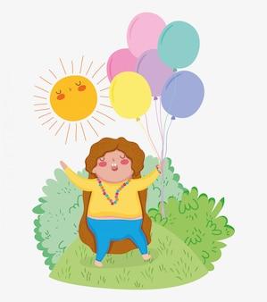 茂みの中で風船と太陽を持つ女の子のゲーム