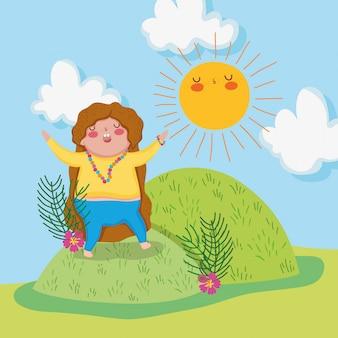 太陽のある山のかわいい女の子のゲーム