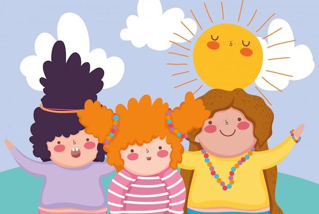 太陽と雲を楽しむ髪型を持つ女の子の友人